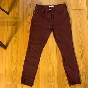 Loft Plum jeans with ruffled bottoms